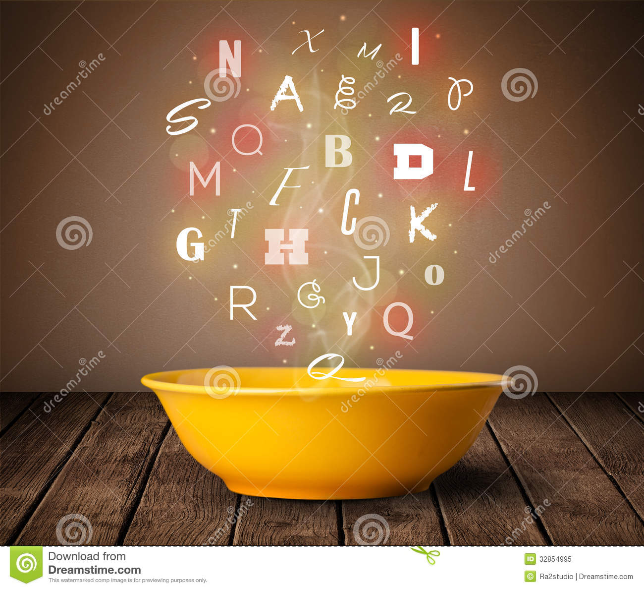 Colorful letters coming out of home cook soup bowl