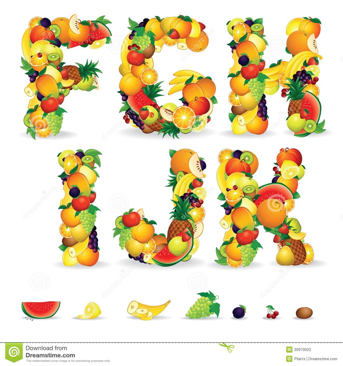 Fruit letters vector alphabet from fruit letter c royalty free stock