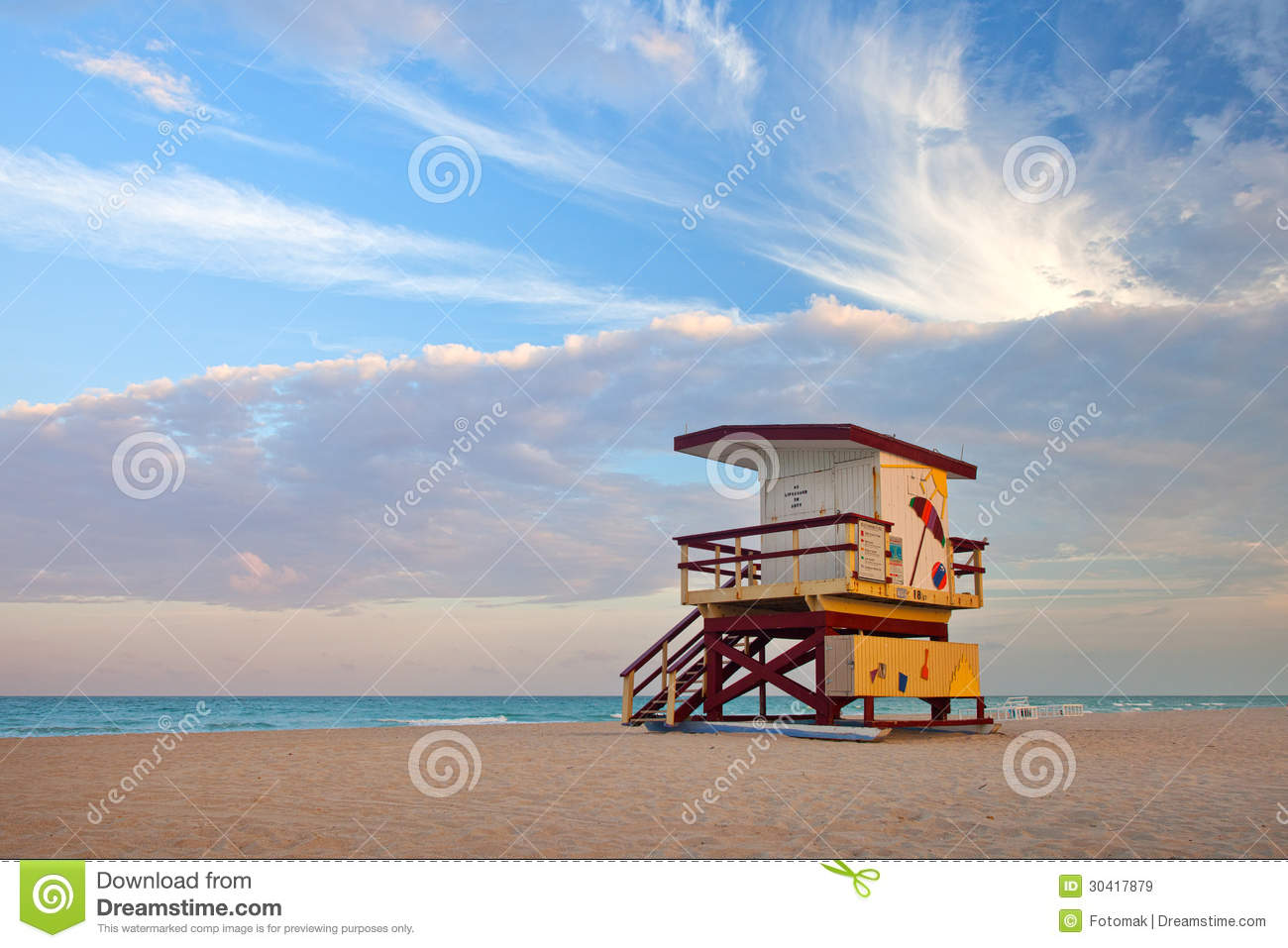 Colorful Lifeguard House In Miami Beach Stock Image ...