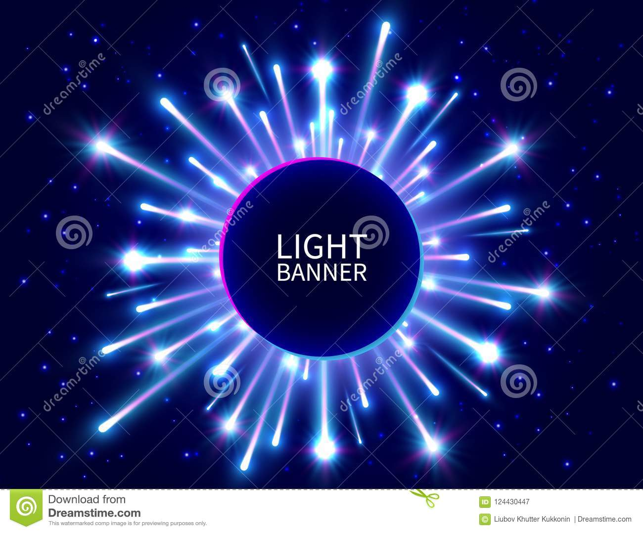 Colorful light banner with glowing rays. Shining neon circle banner. Bright firework. Blue star burst. New Year background. Vector