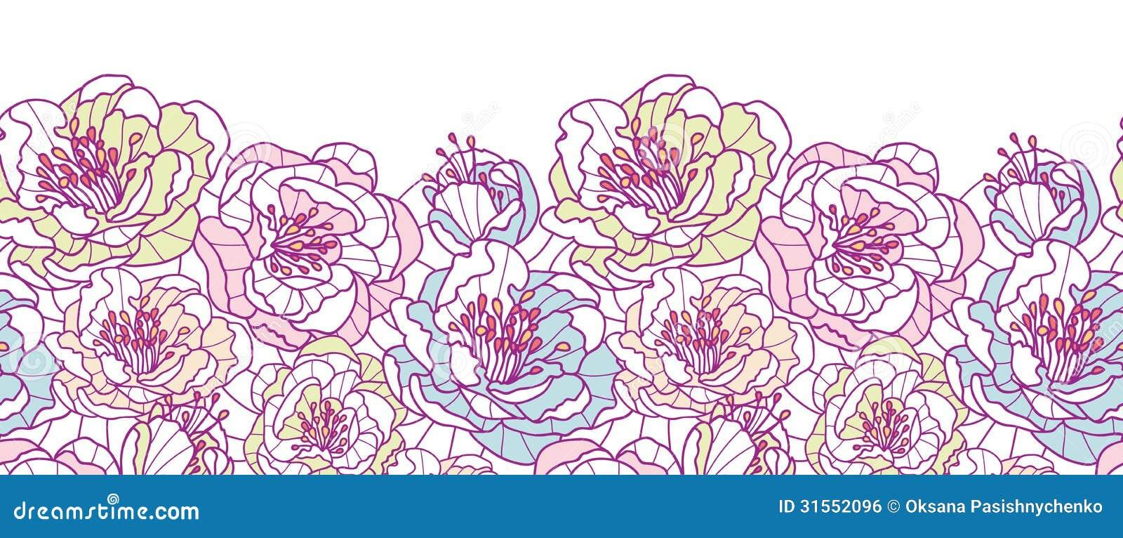 Line Art Flower Background : Colorful line art flowers horizontal seamless stock vector