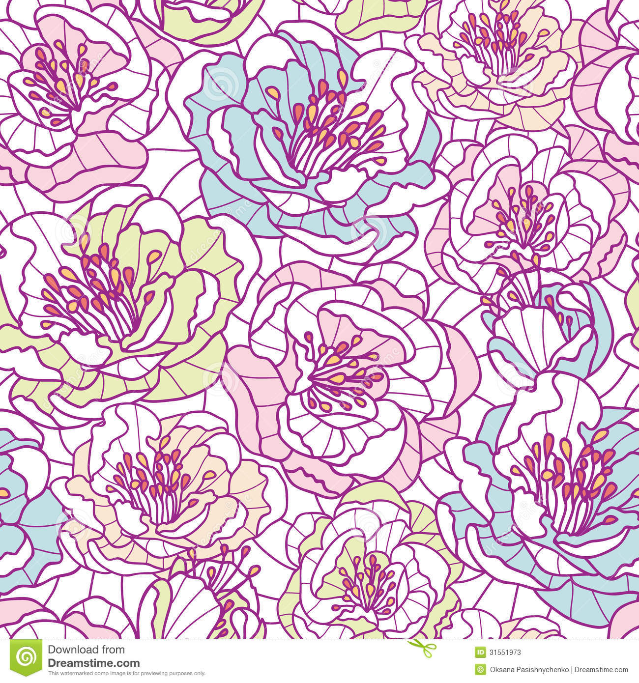 Line Art Flower Vector : Colorful line art flowers seamless pattern stock photos