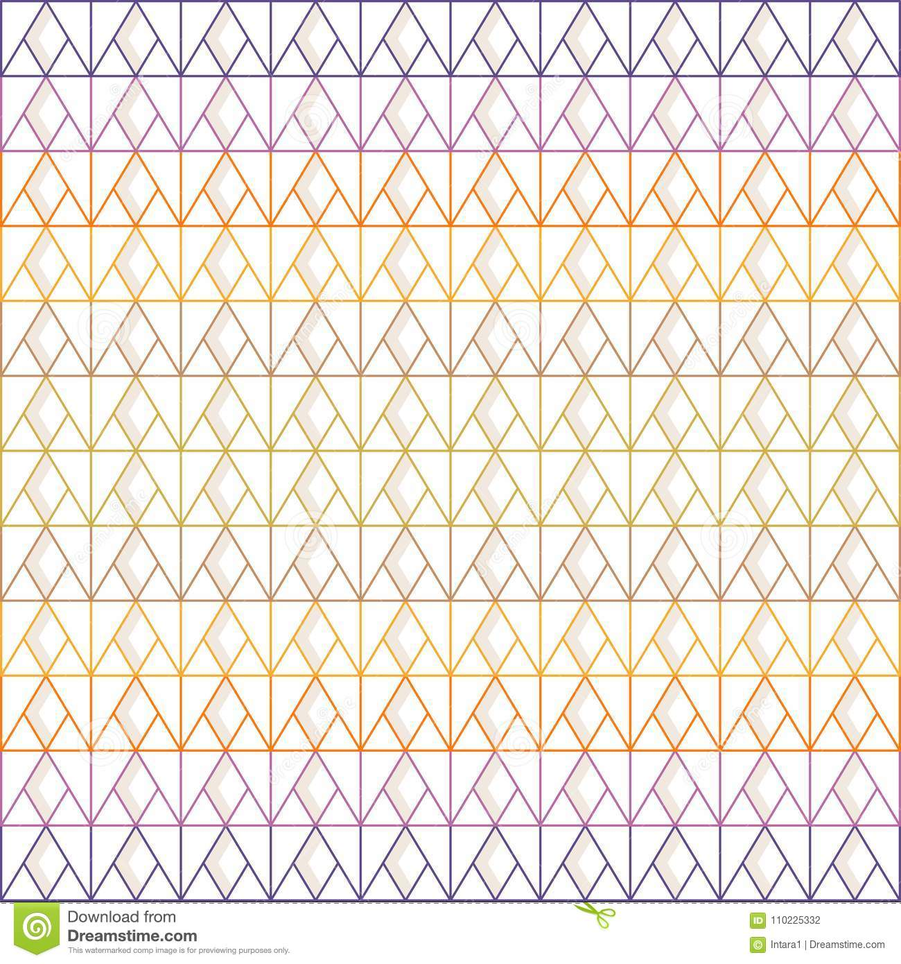 Seamless triangle and diamond pattern of multi-colored lines with gray shadow on white background; vector illustration.
