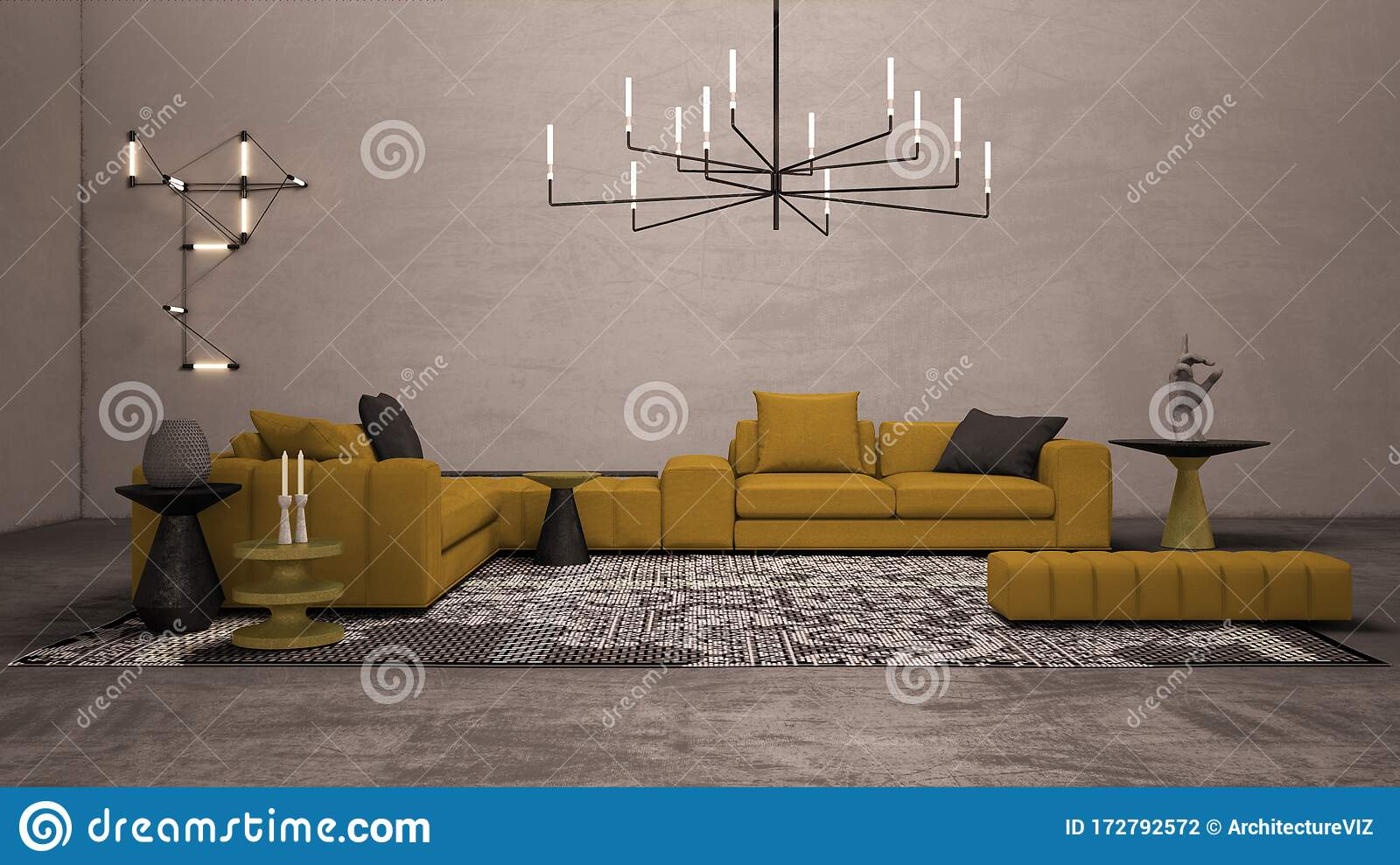 Colorful Living Room With Concrete Plaster Wall And Floor Lounge With Large Yellow Sofa Side Tables And Decors Carpet Wall And Stock Illustration Illustration Of Decoration Interior 172792572