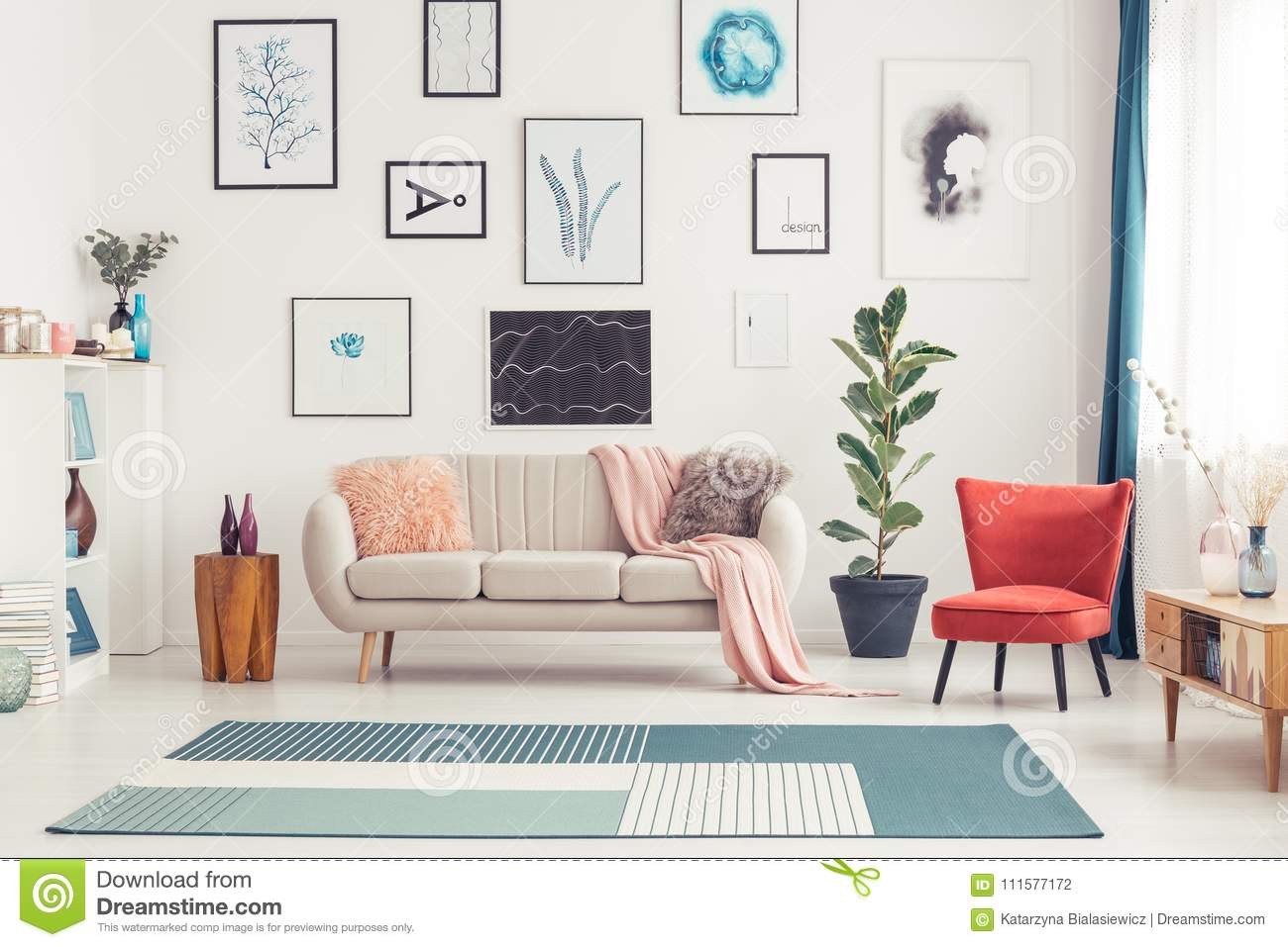 Colorful Living Room Interior Stock Photo - Image of design, navy ...