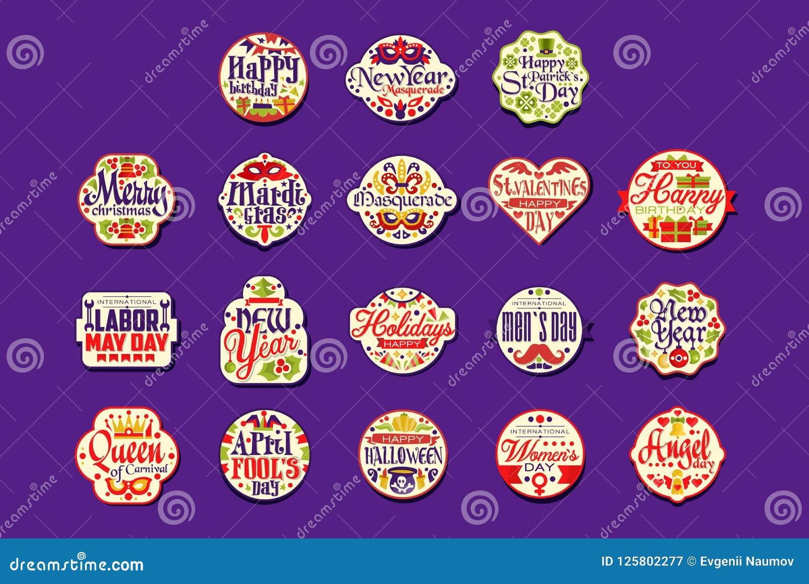 Colorful Logo Or Label Set For Holiday Retro Design Festive