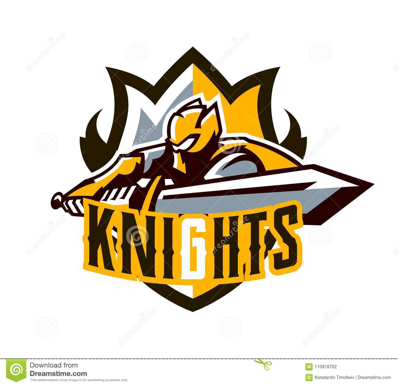 A Colorful Logo, A Sticker, An Emblem, A Knight Is Attacking