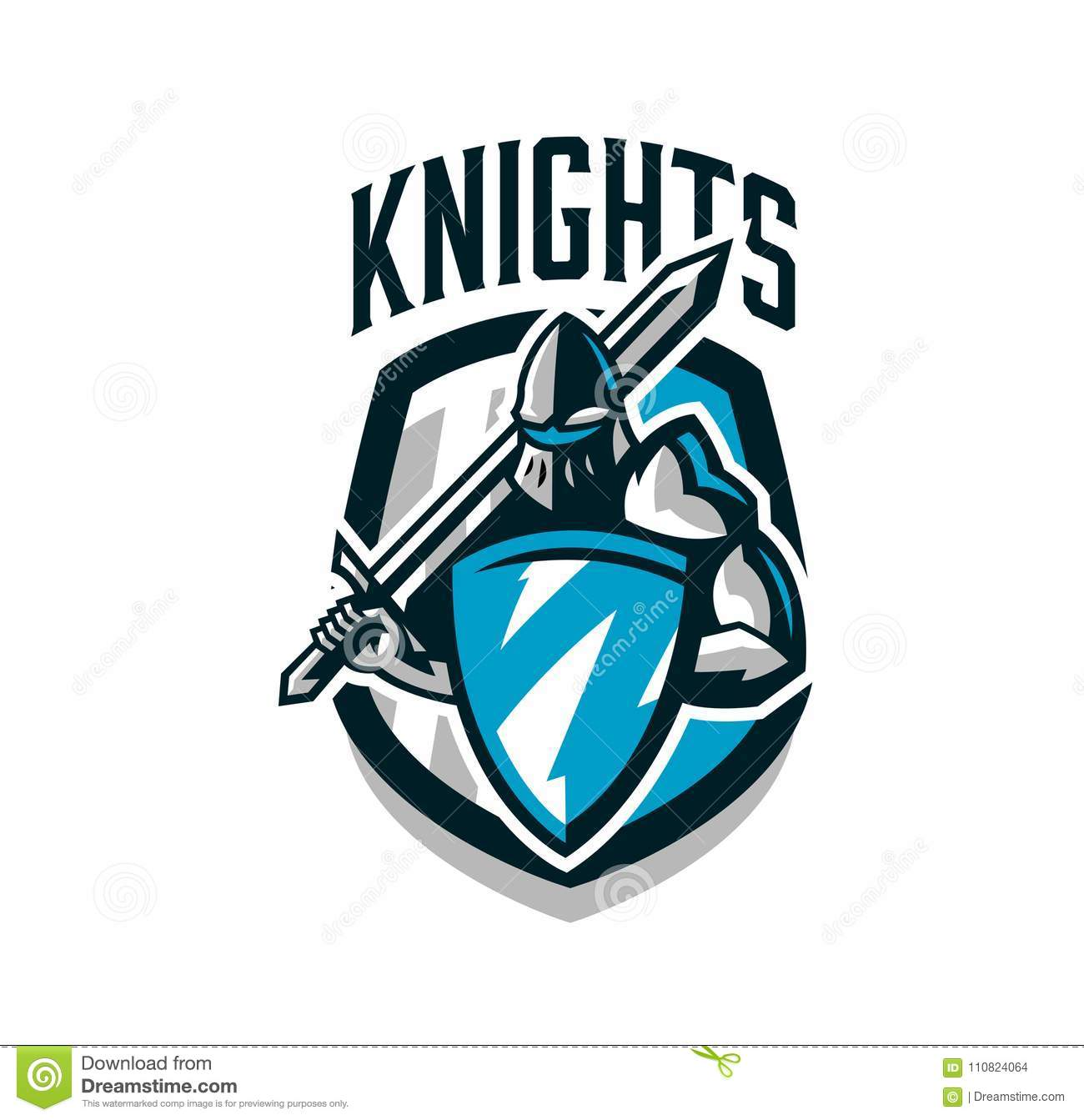 Colorful Logo Sticker Emblem Of The Knight In Iron Armor Knight
