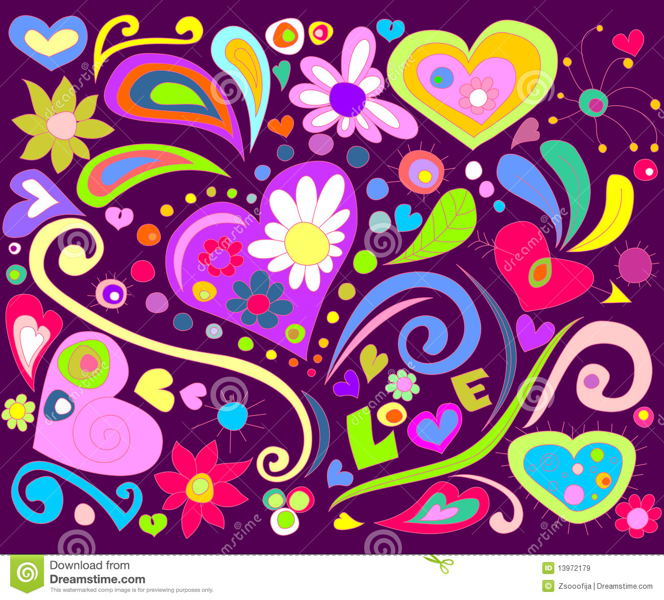 Colorful Love Doodle Royalty Free Stock Images Image