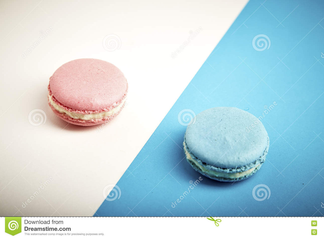colorful macaron pink and blue macaron stock photo - image: 72643543