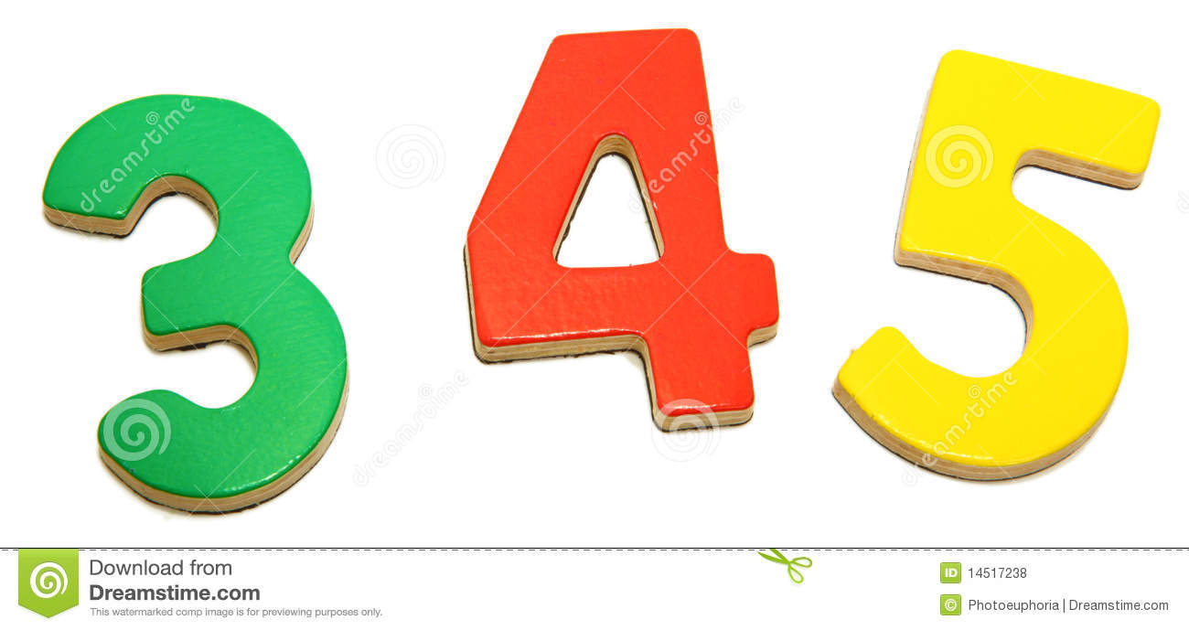 Colorful Magnetic Numbers 3 4 5 Stock Photo