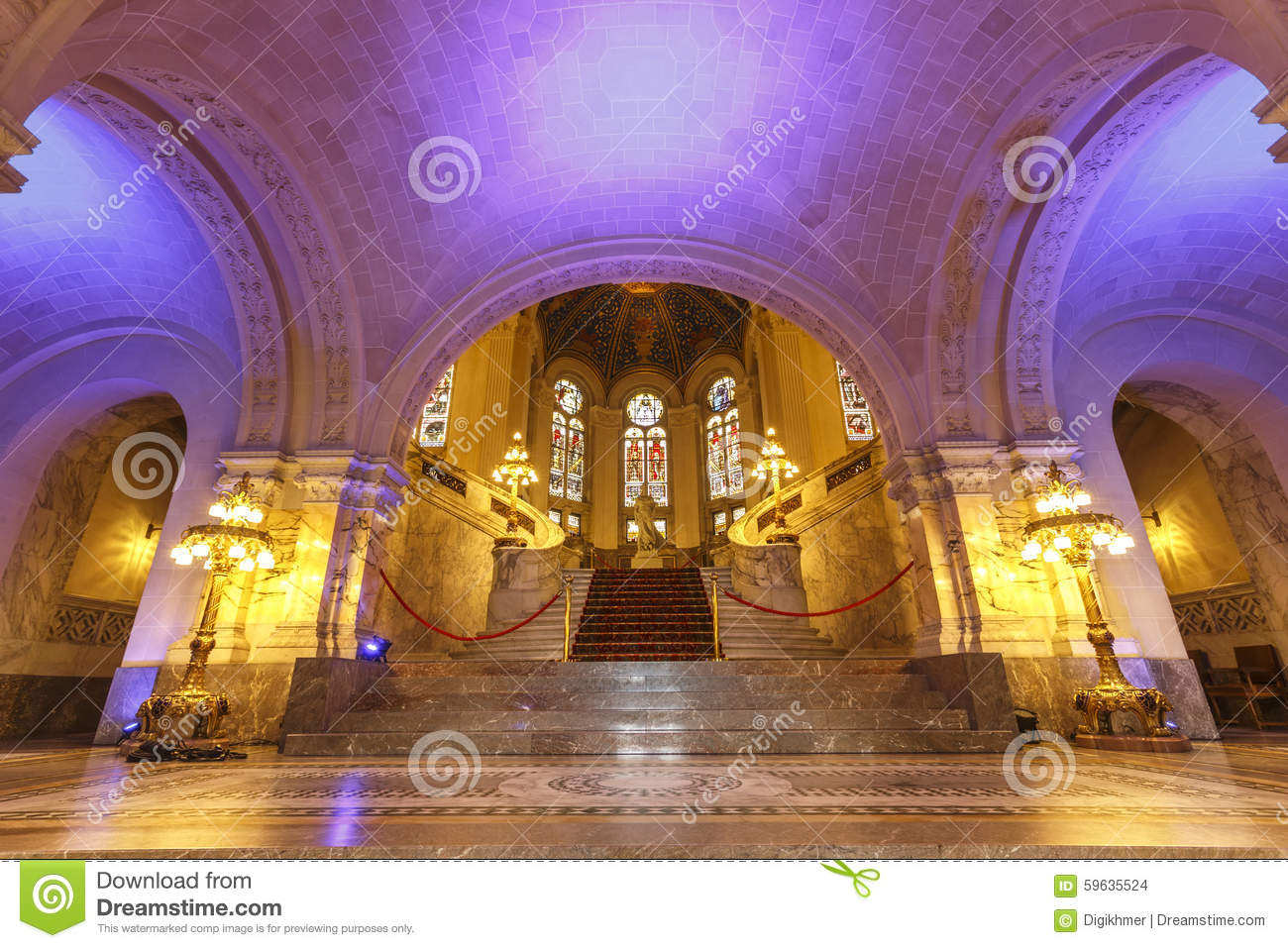 Colorful Main Hall Of The Peace Palace Editorial Stock