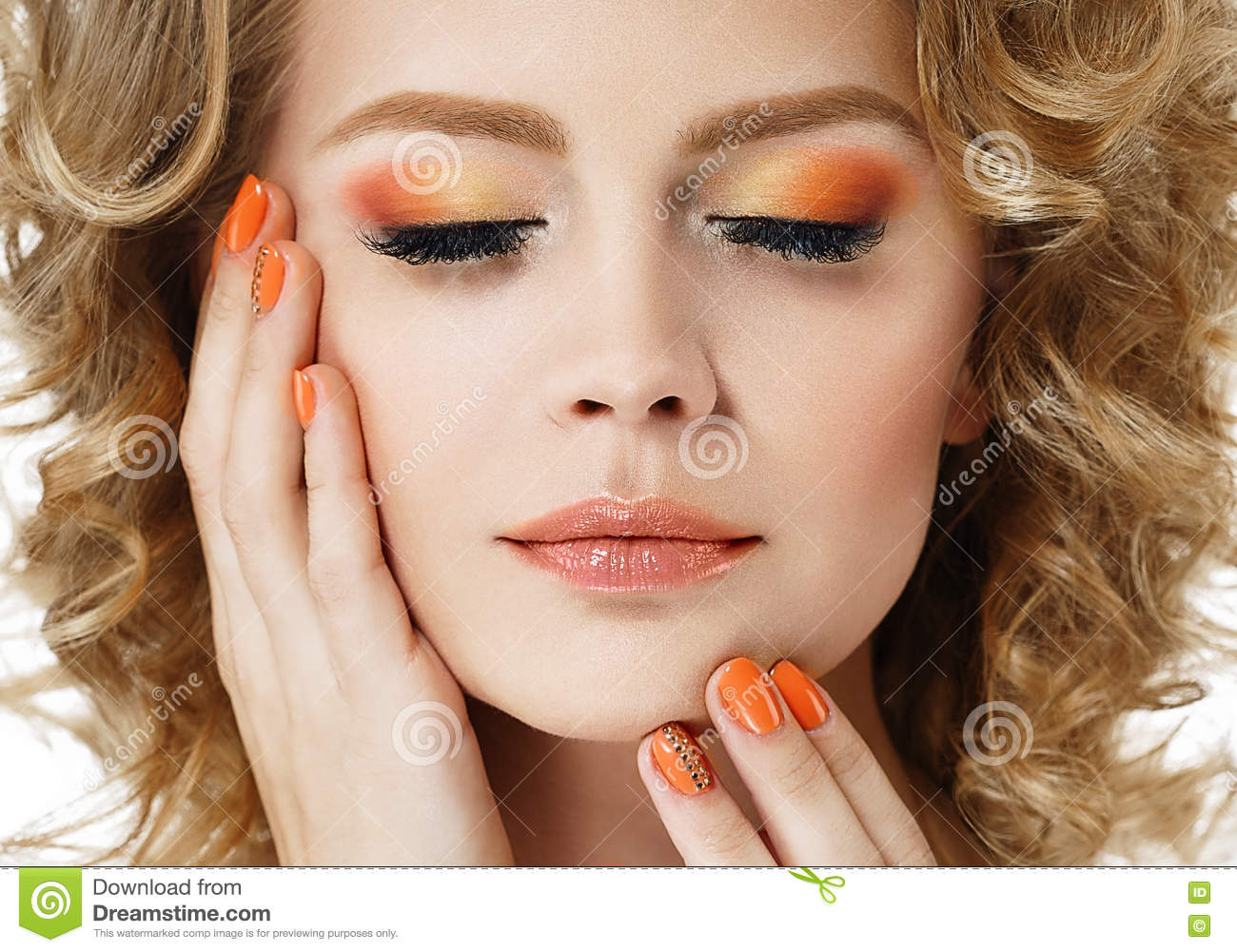Colorful make up shadows and nails woman beauty portrait isolated on white