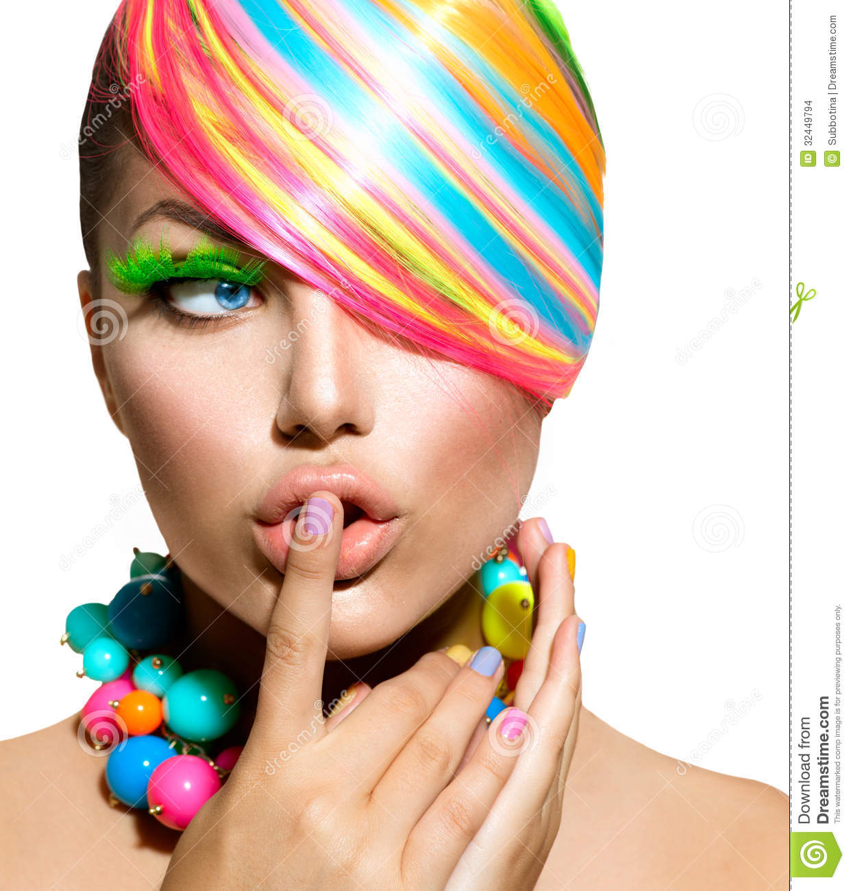 colorful makeup  hair and accessories stock photo image Eye Vector Nose Vector