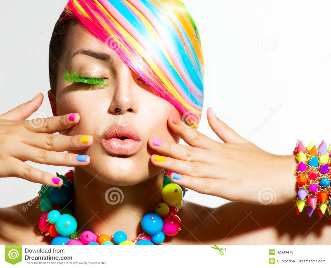Colorful Makeup, Hair And Accessories Stock Photo - Image ...