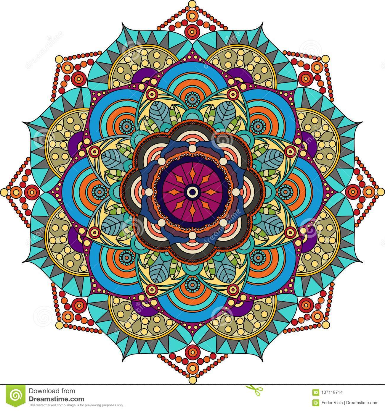 Colorful mandala, purple, green, gray, gold colors