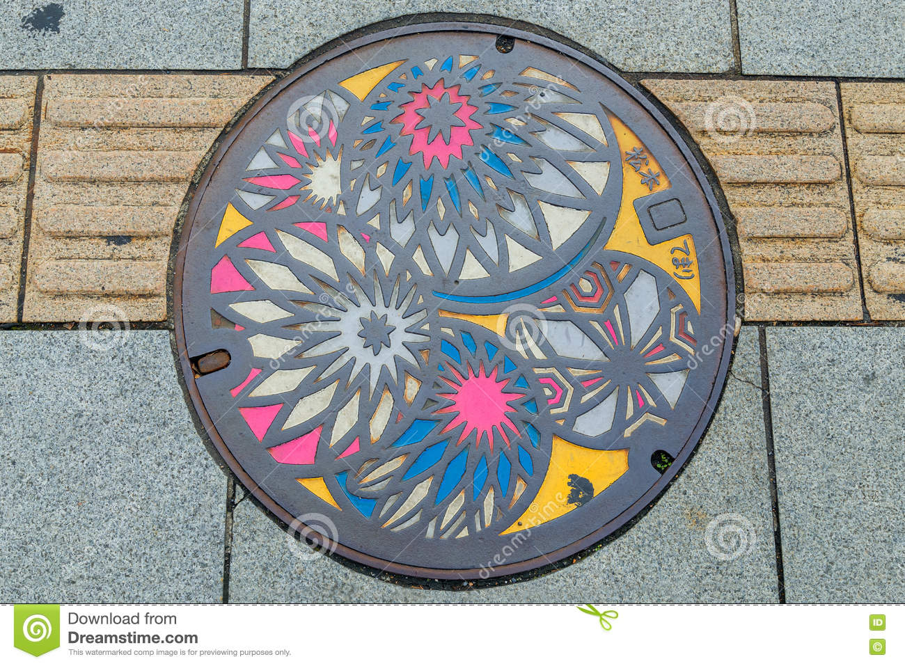 Colorful manhole cover in Matsumoto City