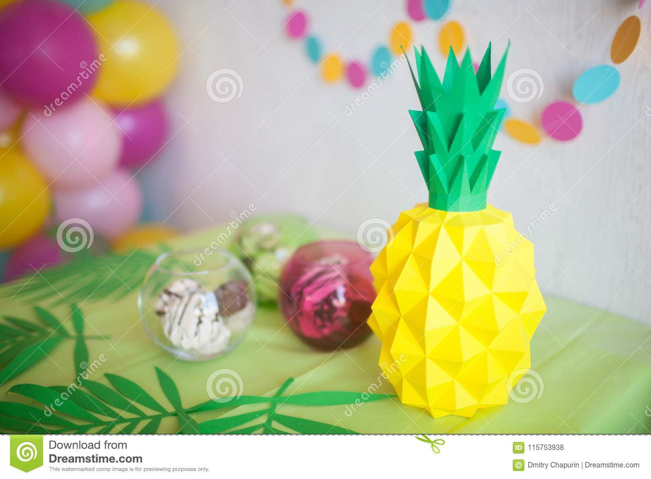 Origami Pineapple From Colored Paper Stock Photo Image Of Boss