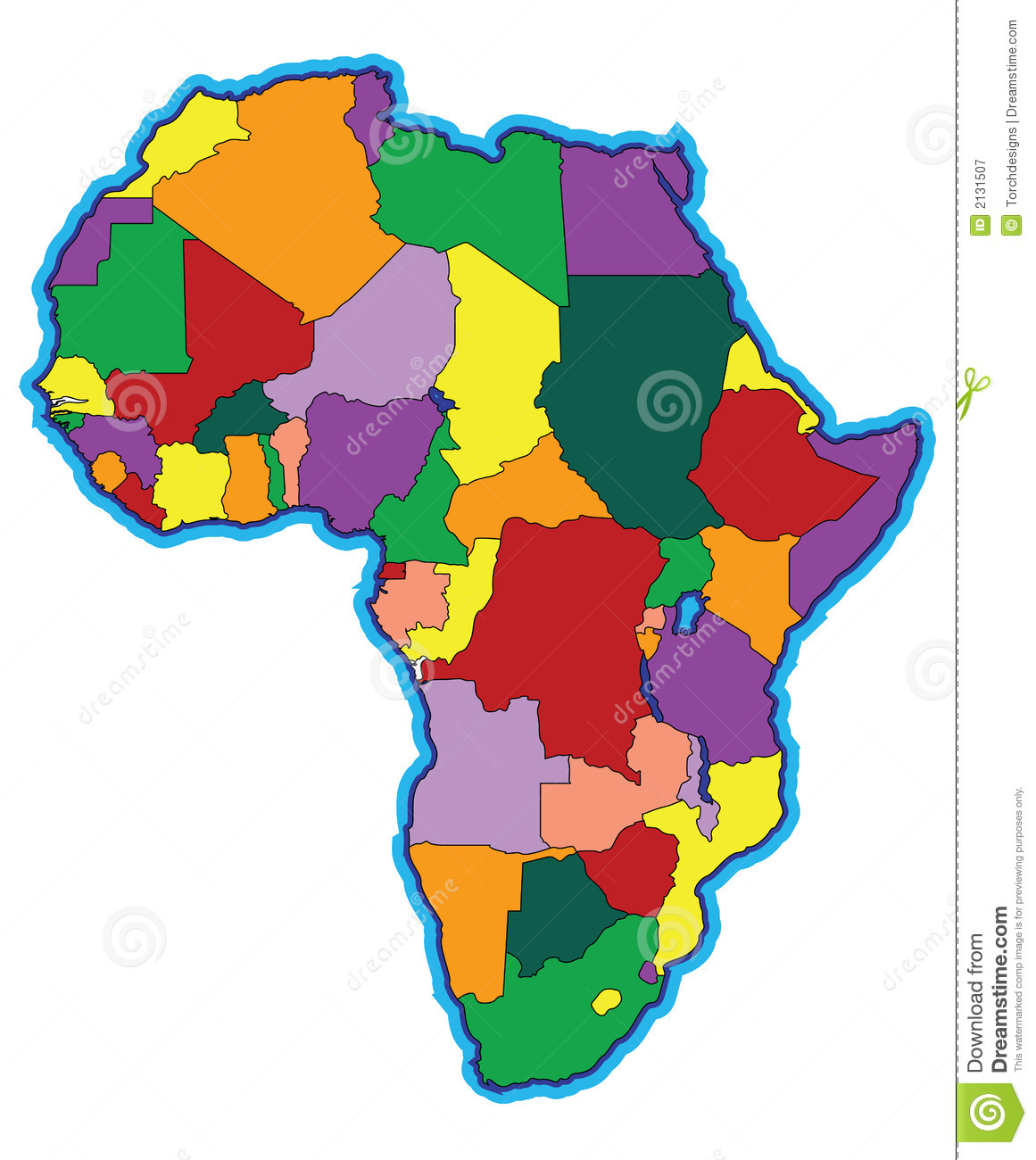 Colorful Map Of Africa Stock Illustration Illustration Of