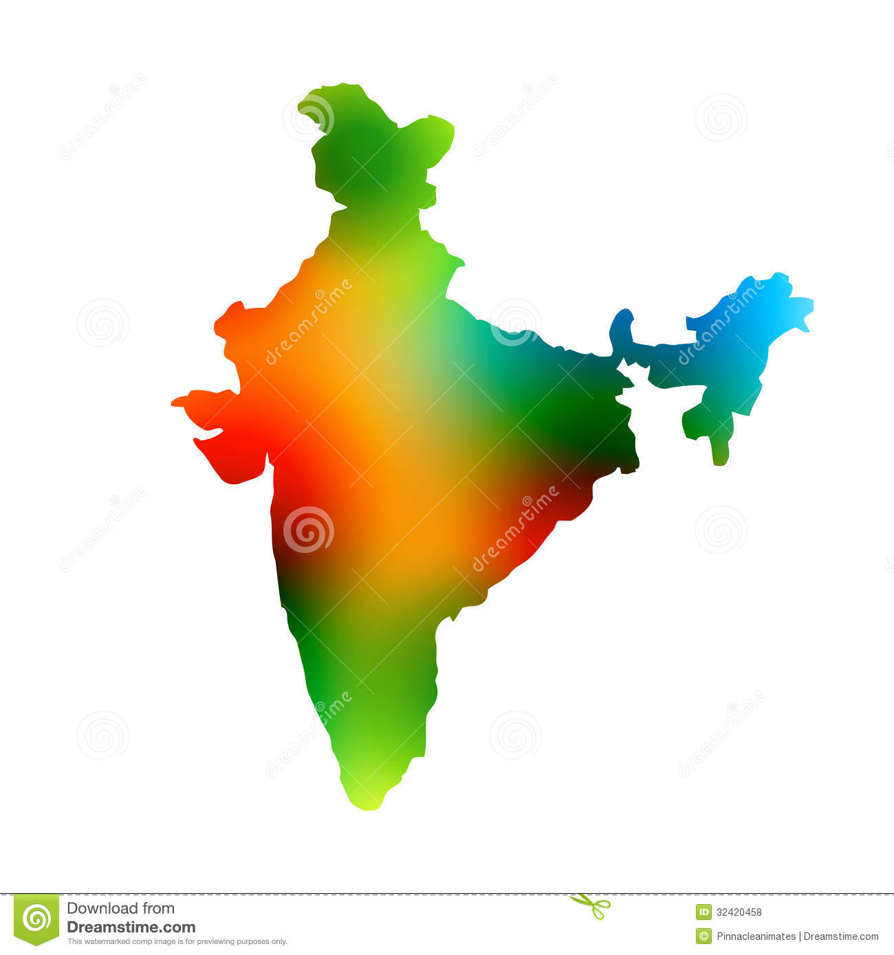 Colorful map of india Colorful map of
