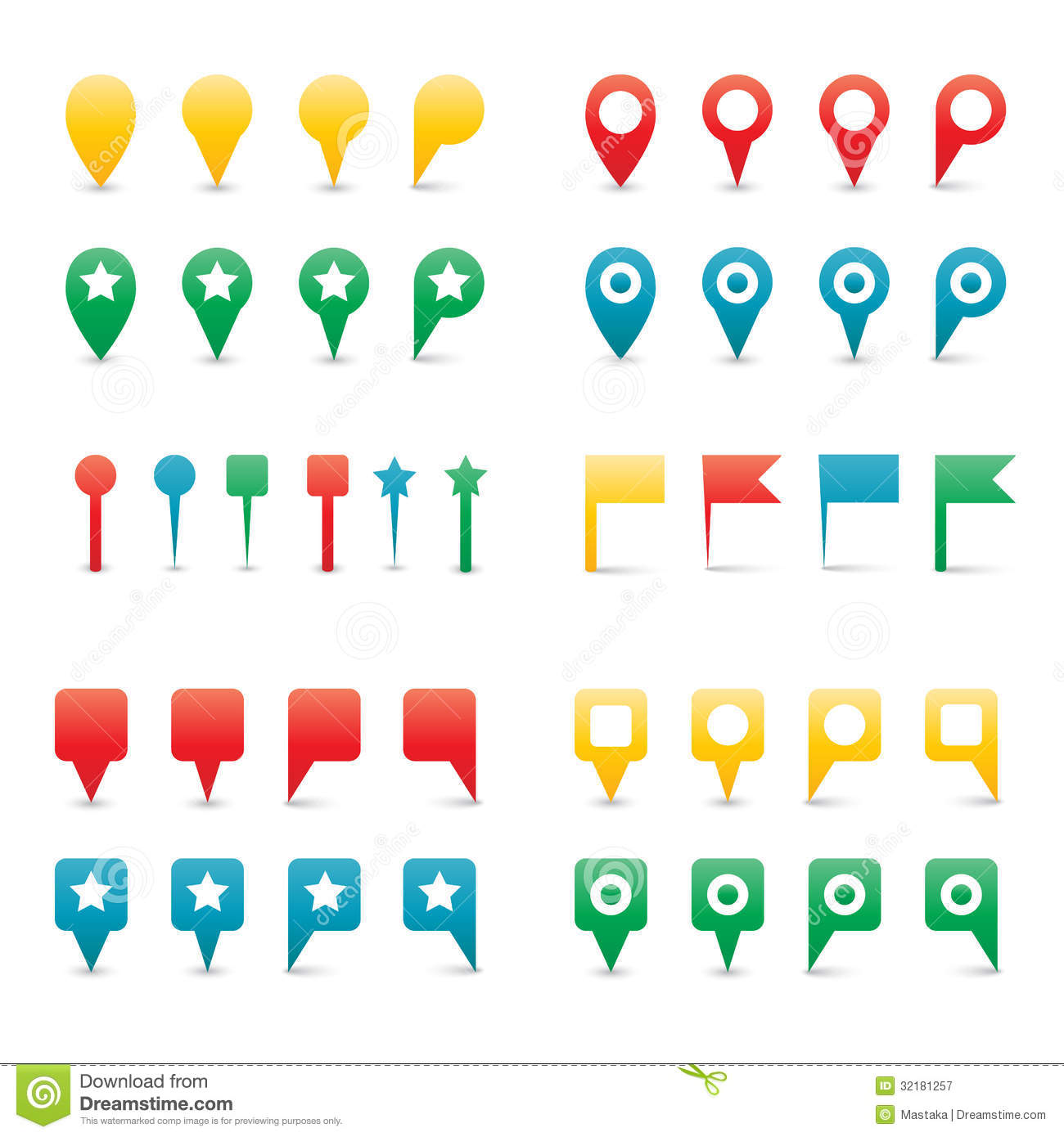 colorful map pins  stock vector  image of navigation