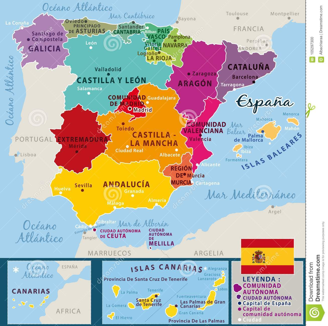 Country Of Spain Map.Colorful Map Of Spain Federal Countries And Important Cities Stock