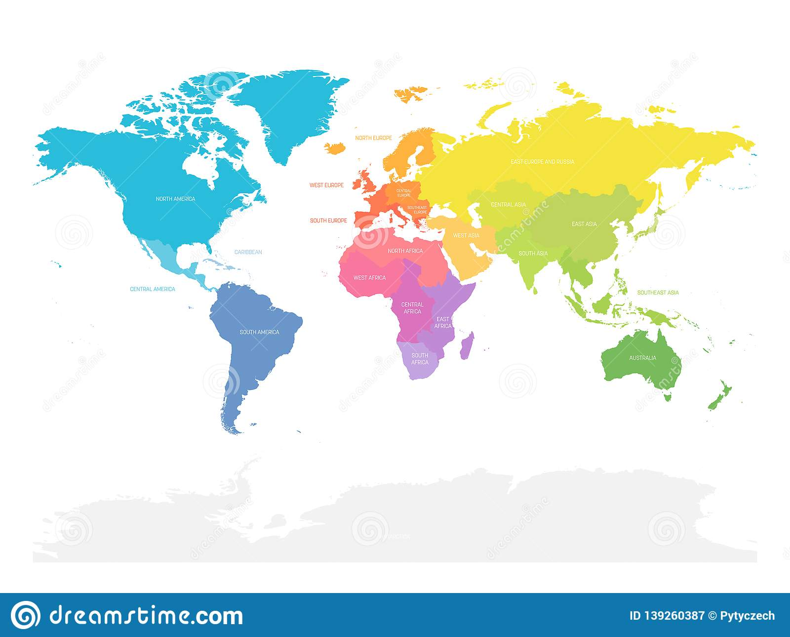 Colorful Map Of World Doivided Into Regions. Simple Flat ... on simple world map with all countries, simple world map printable, simple world map with continents, simple world map with grid, simple old world map, topographic map, simple europe map, simple climate map, simple world map with oceans, simple blank world map, simple flat world map, seven wonders of the world, simple world map travel, continents of the world, thematic map, simple world map drawing, simple world map political, countries of the world, simple us map, flags of the world, simple united states map, mappa mundi, simple globe map,