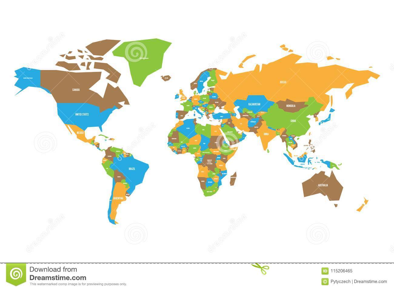 Colorful Map Of World Simplified Vector Map With Country Name