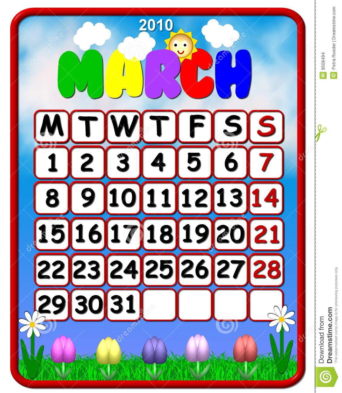 Calendar Clip Art March : Colorful march calendar stock illustration image