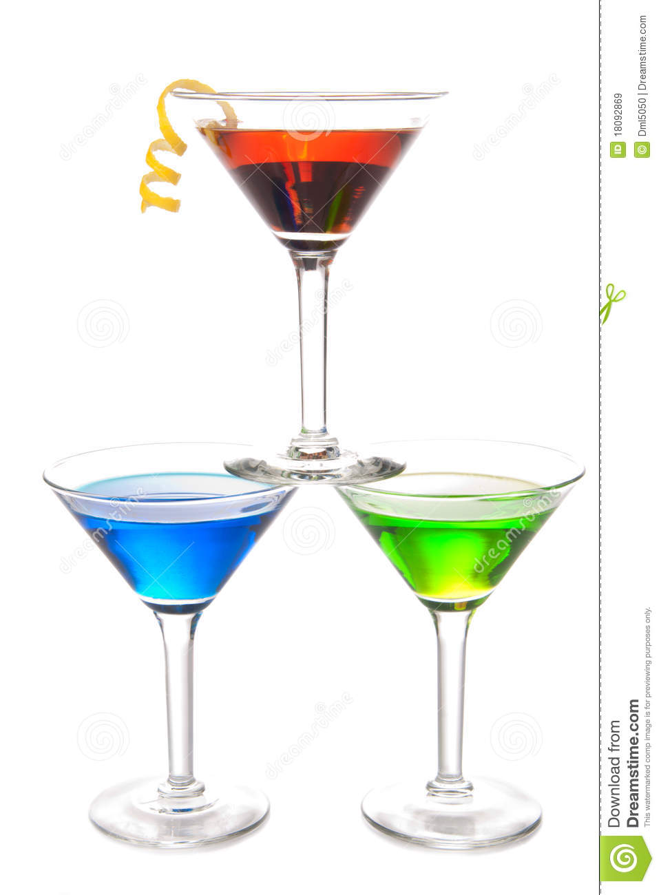 Colorful martini cocktails drink composition royalty free for Light cocktails with vodka