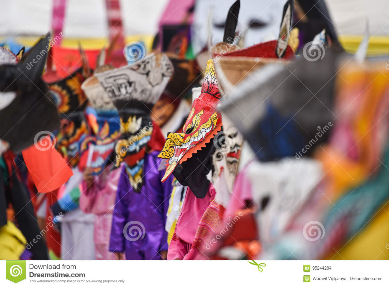 Colorful Mask Ghost At Phi Ta Khon Festival 2017 Editorial Stock ...
