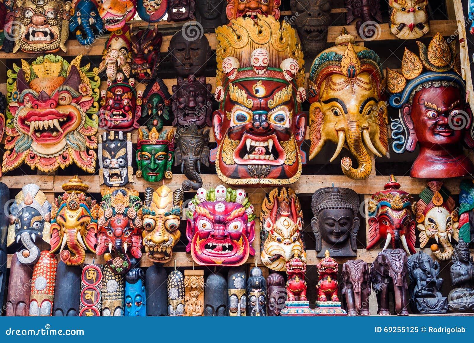 Colorful Masks At Shop In Kathmandu Nepal Stock Image Image Of