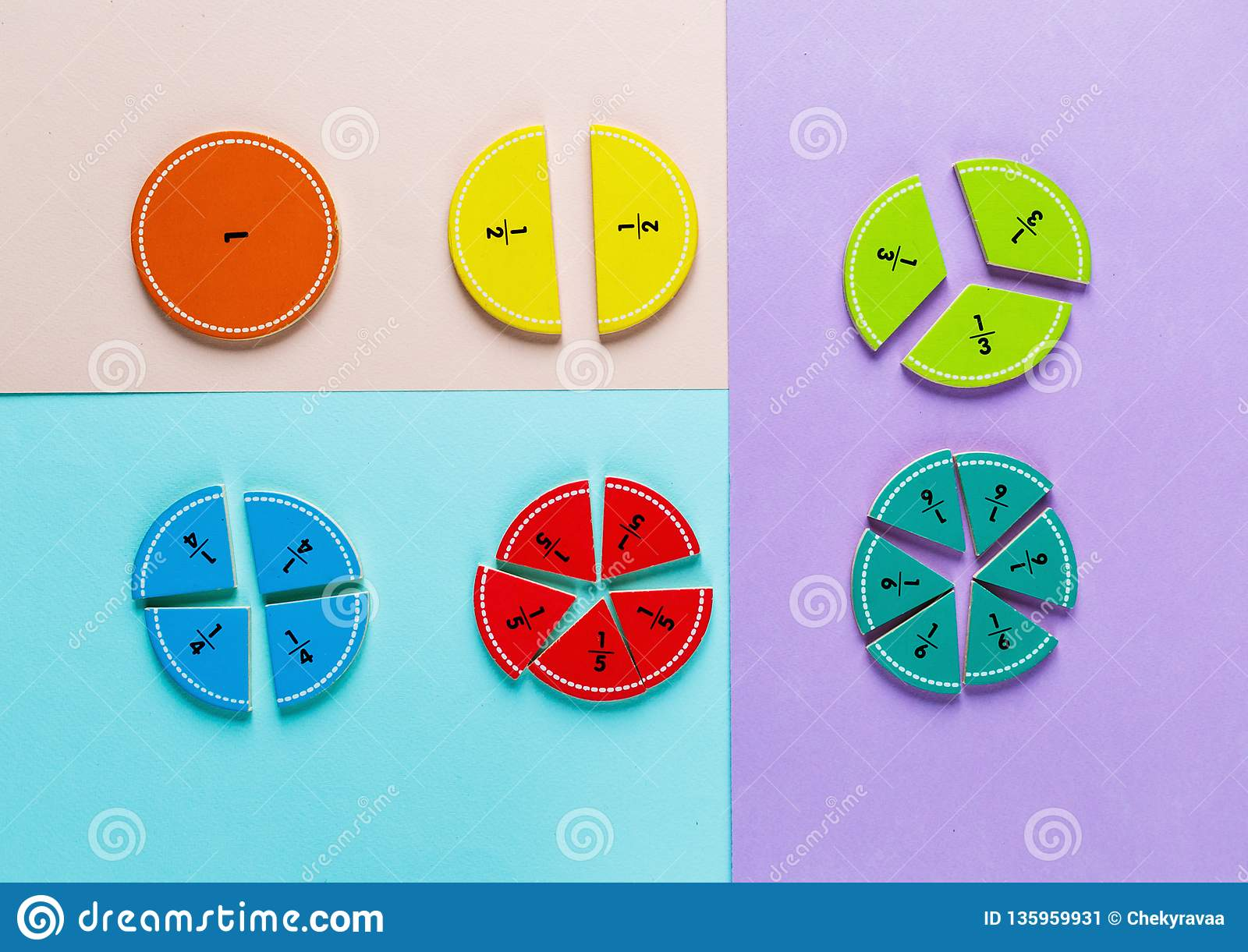 Colorful math fractions on the pink blue violet bright backgrounds. Interesting math for kids. Education, back to school concept.