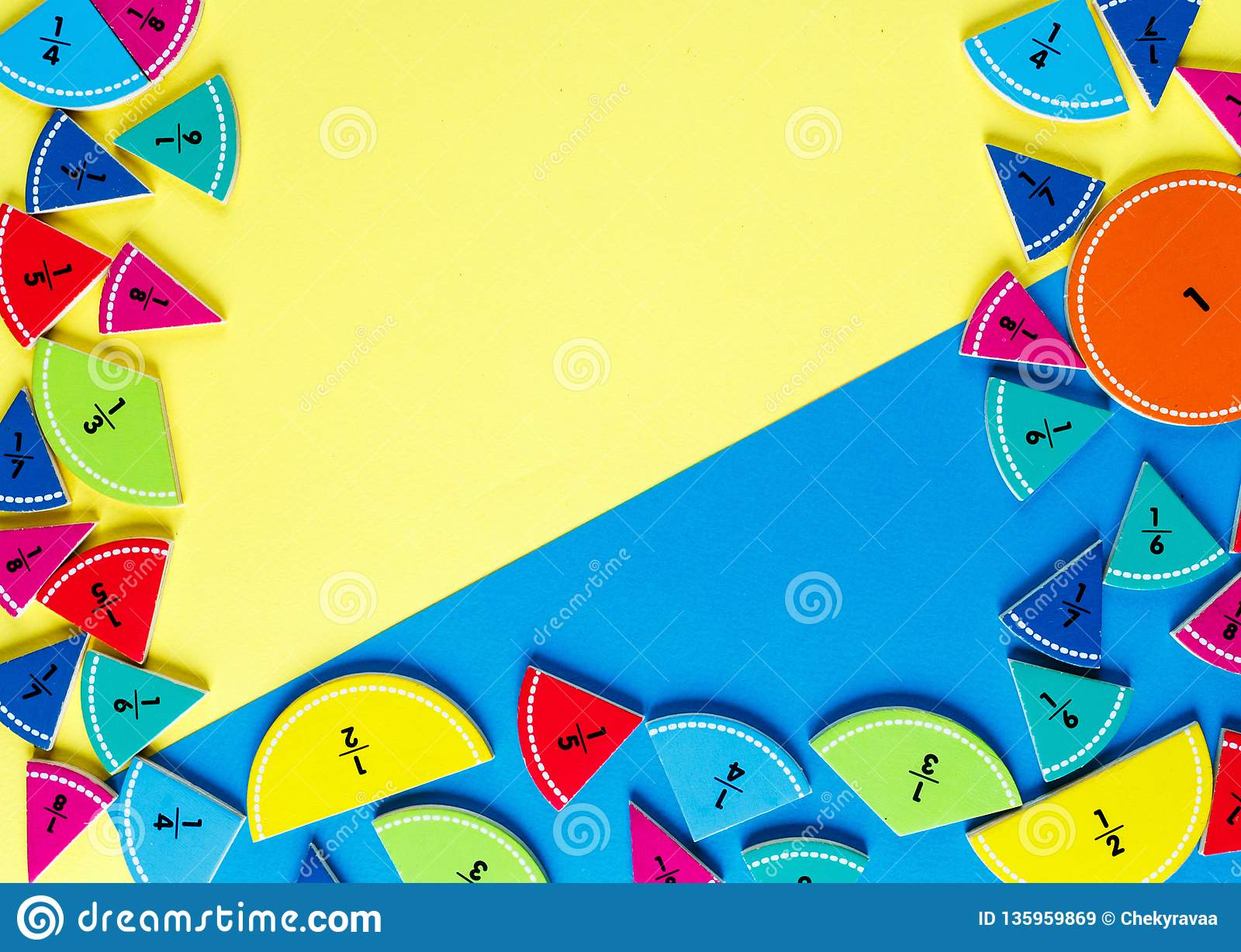 Colorful math fractions on the yellow and blue bright backgrounds. interesting math for kids. Education, back to school concept. G
