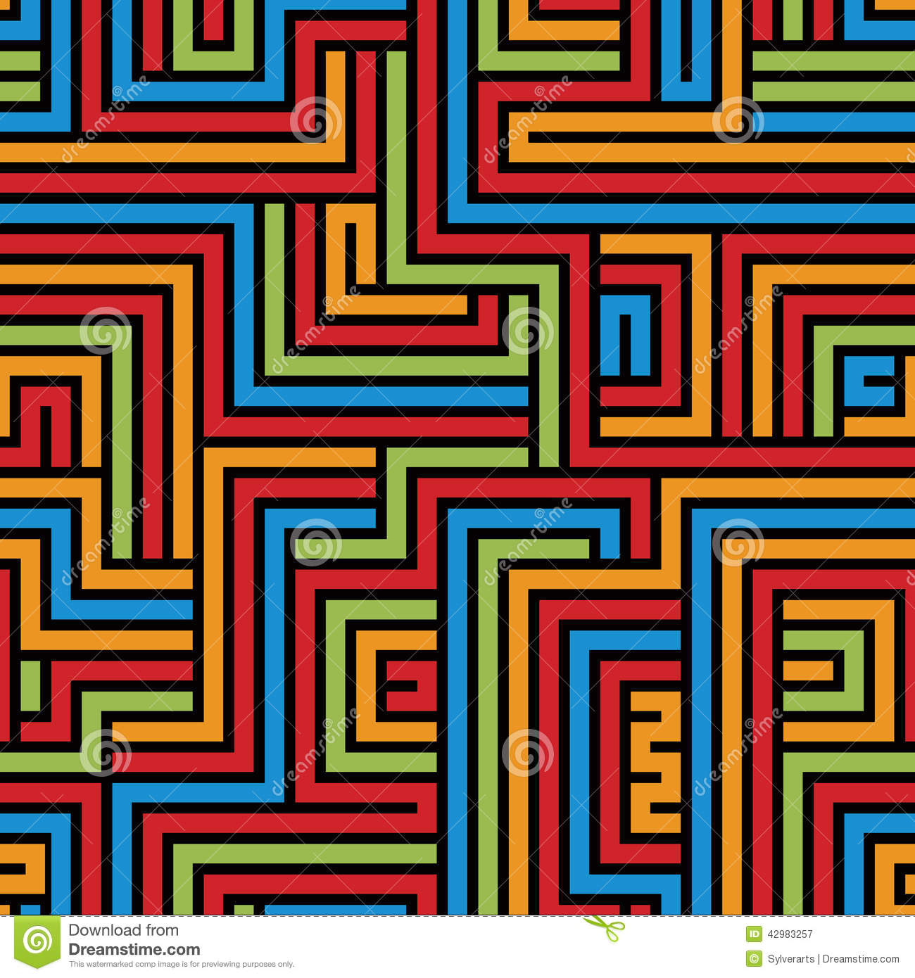 Colorful Maze Seamless Pattern, Geometric Simple Vector Backgrou ...