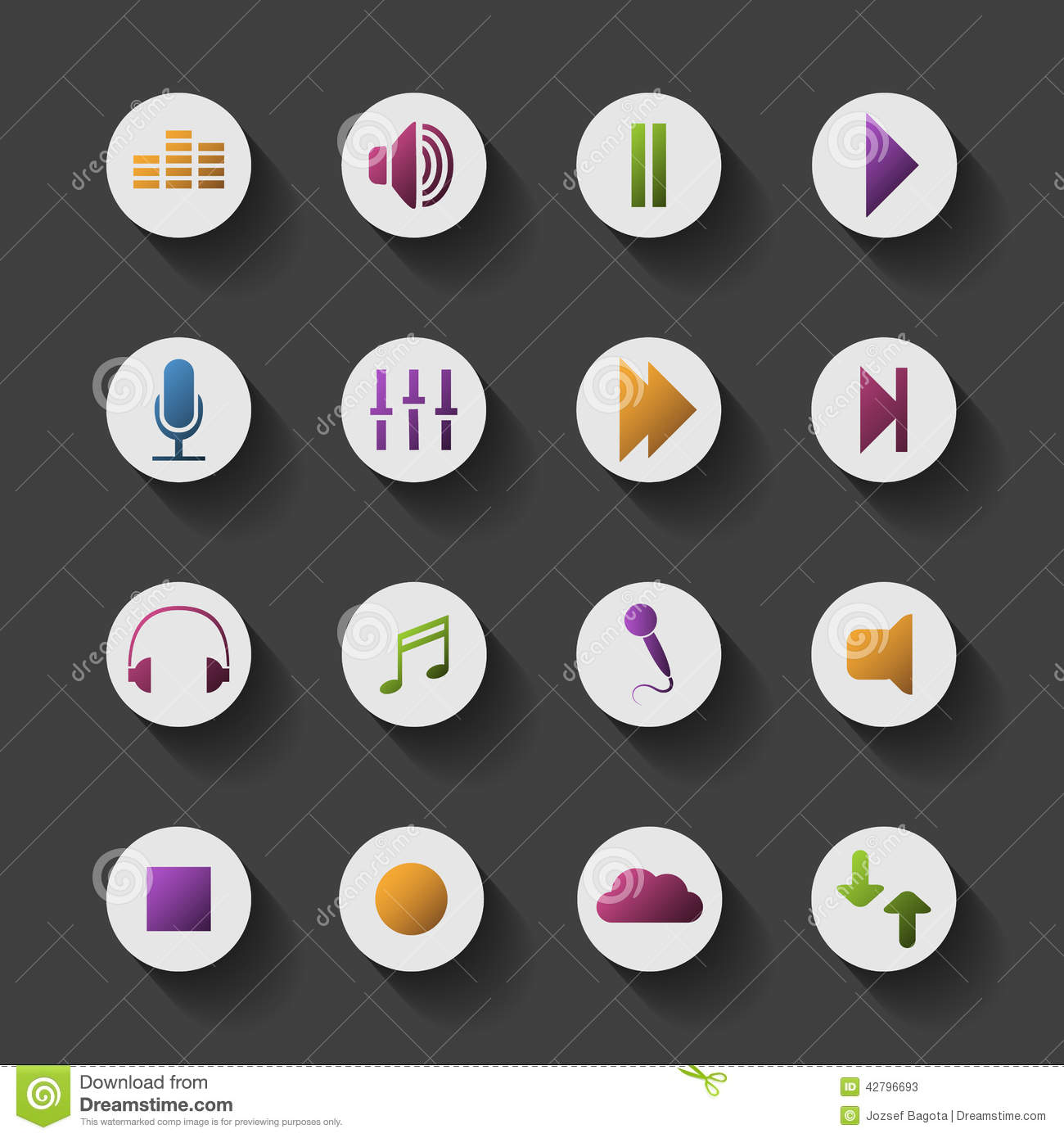 Colorful Media Related Icon Set Design