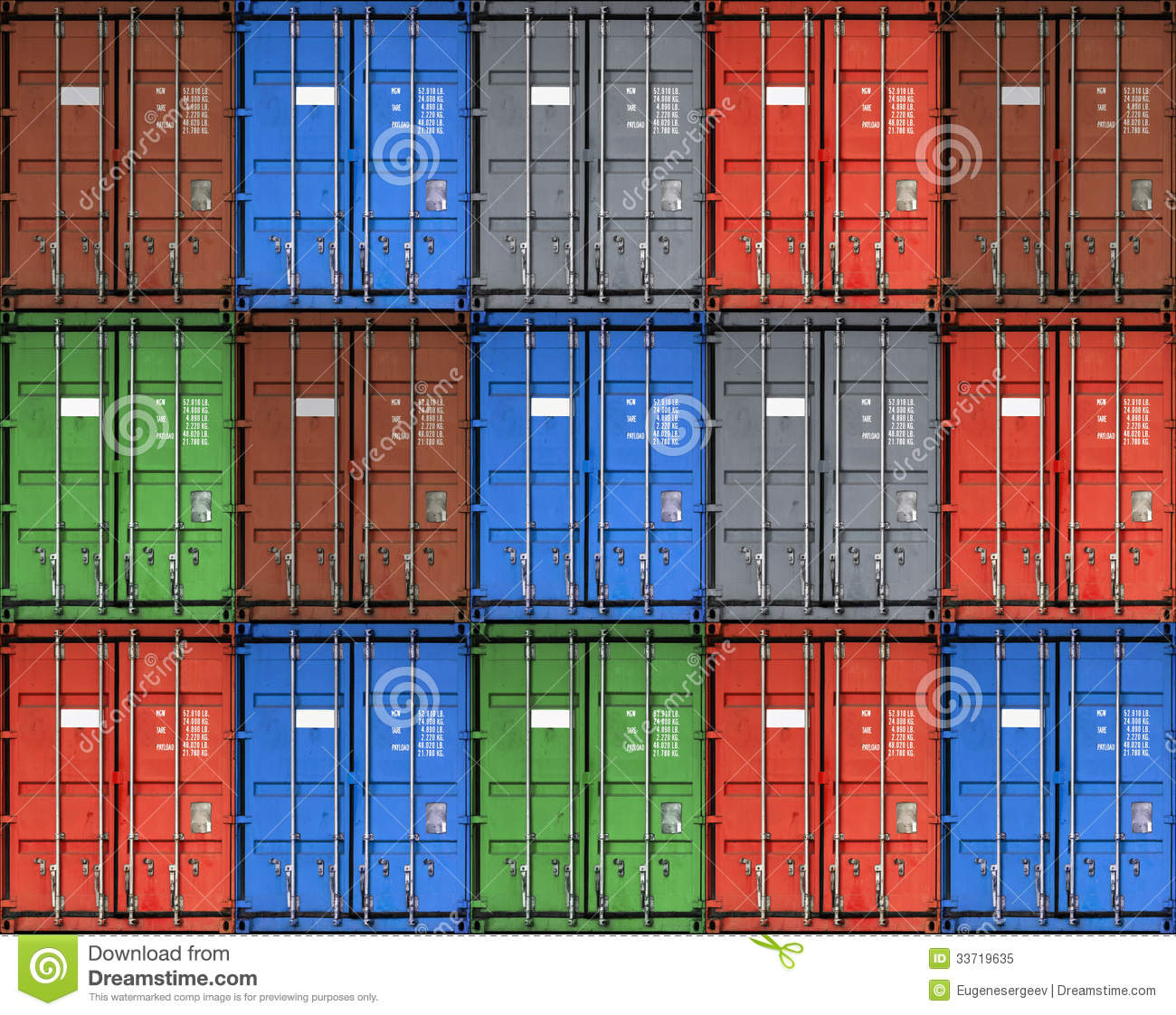 Colorful Metal Freight Shipping Containers Stock Image