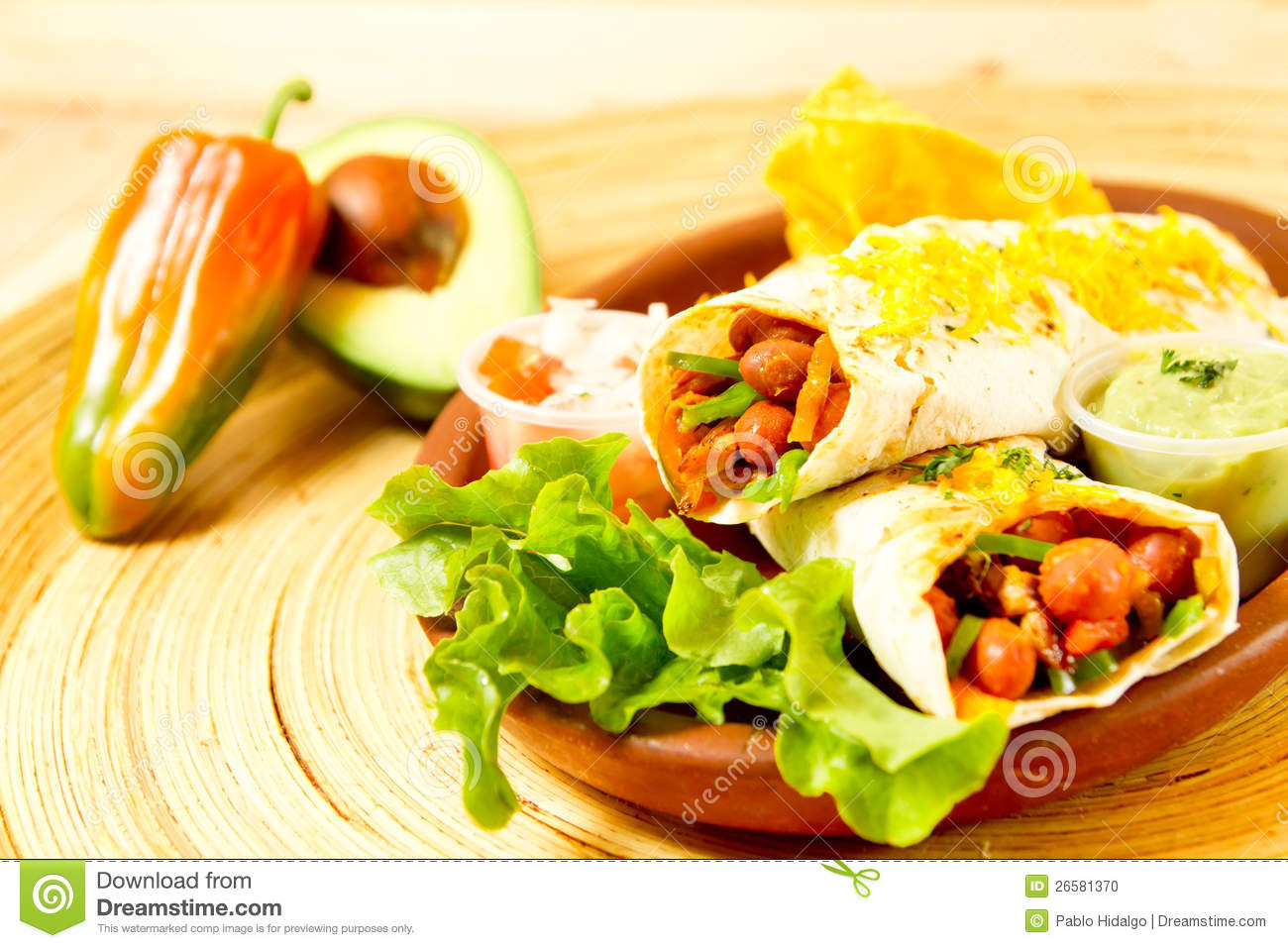 Colorful Mexican Food Plate With Tacos Stock Photo Image Of