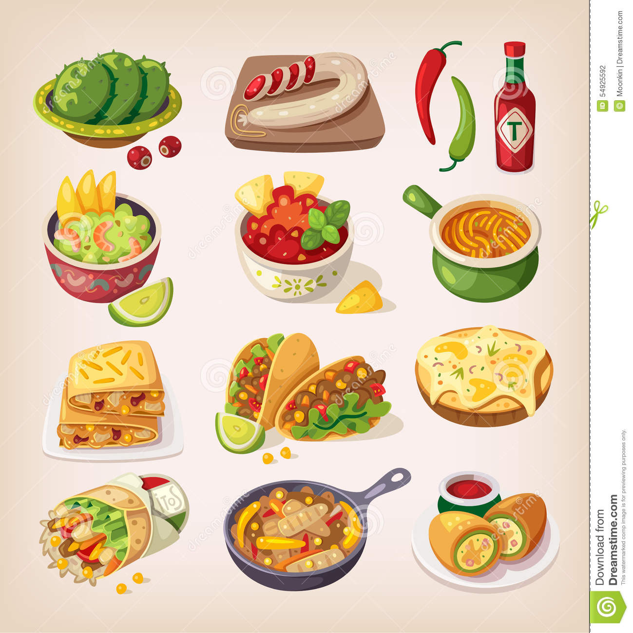 Breakfast Area Ideas Colorful Mexican Food Stock Illustration Image 54925592