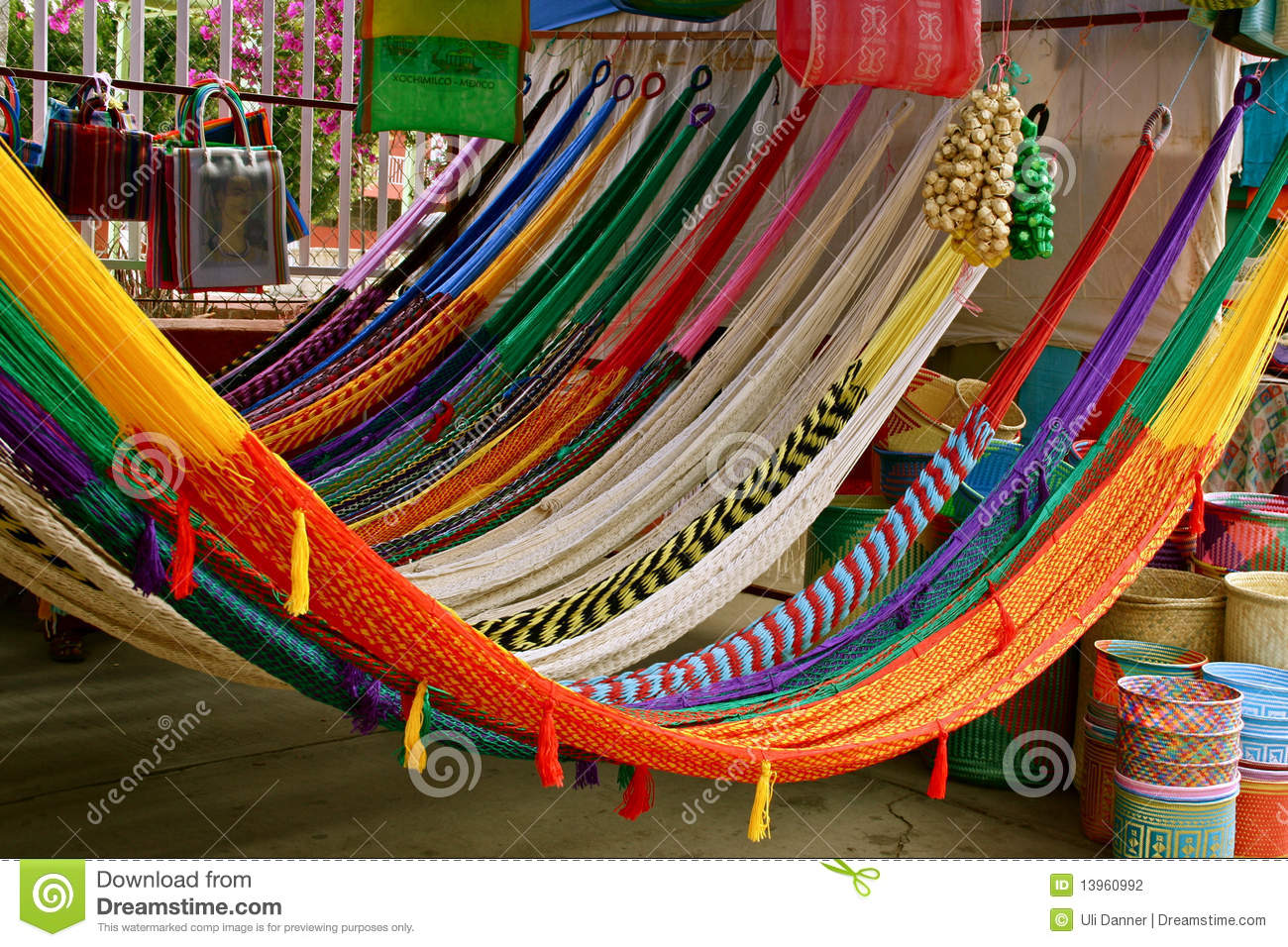 Colorful mexican hammocks stock photo image of handicraft 13960992 - Hamaca de red ...