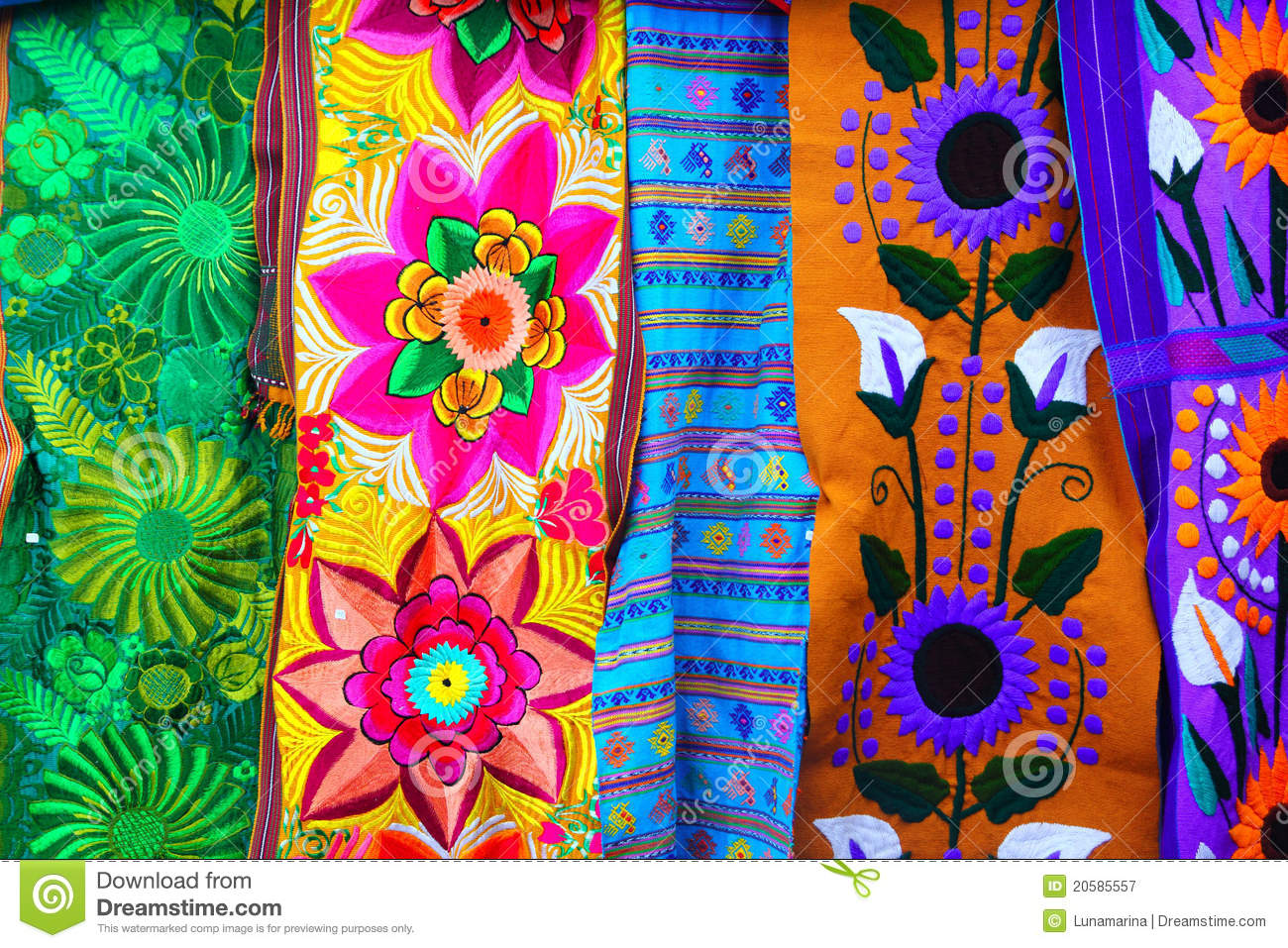 Colorful Mexican Serape Fabric Handcrafted Royalty Free