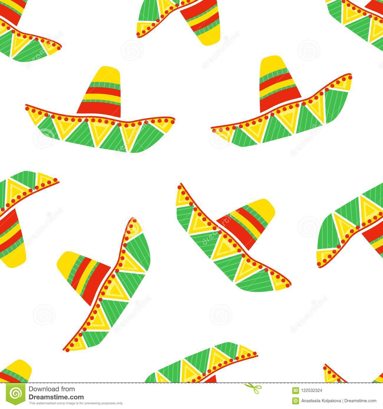 Colorful Mexican Sombrero Vector Seamless Pattern Stock Vector ... dc053f5c9f1