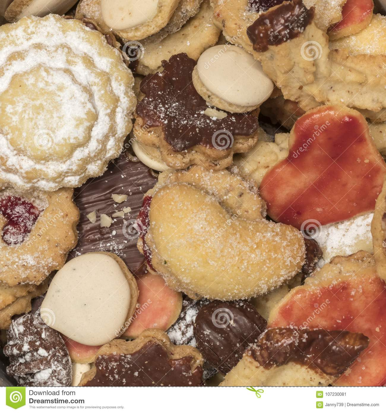 Colorful Mix Of Homemade Christmas Cookies Biscuits Stock Image