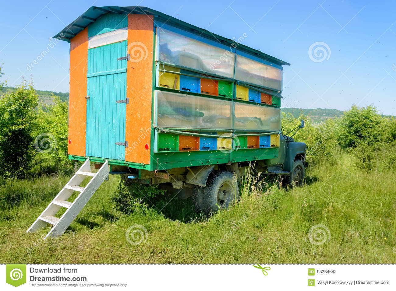 Colorful mobile beehive, apiary. Apiculture.