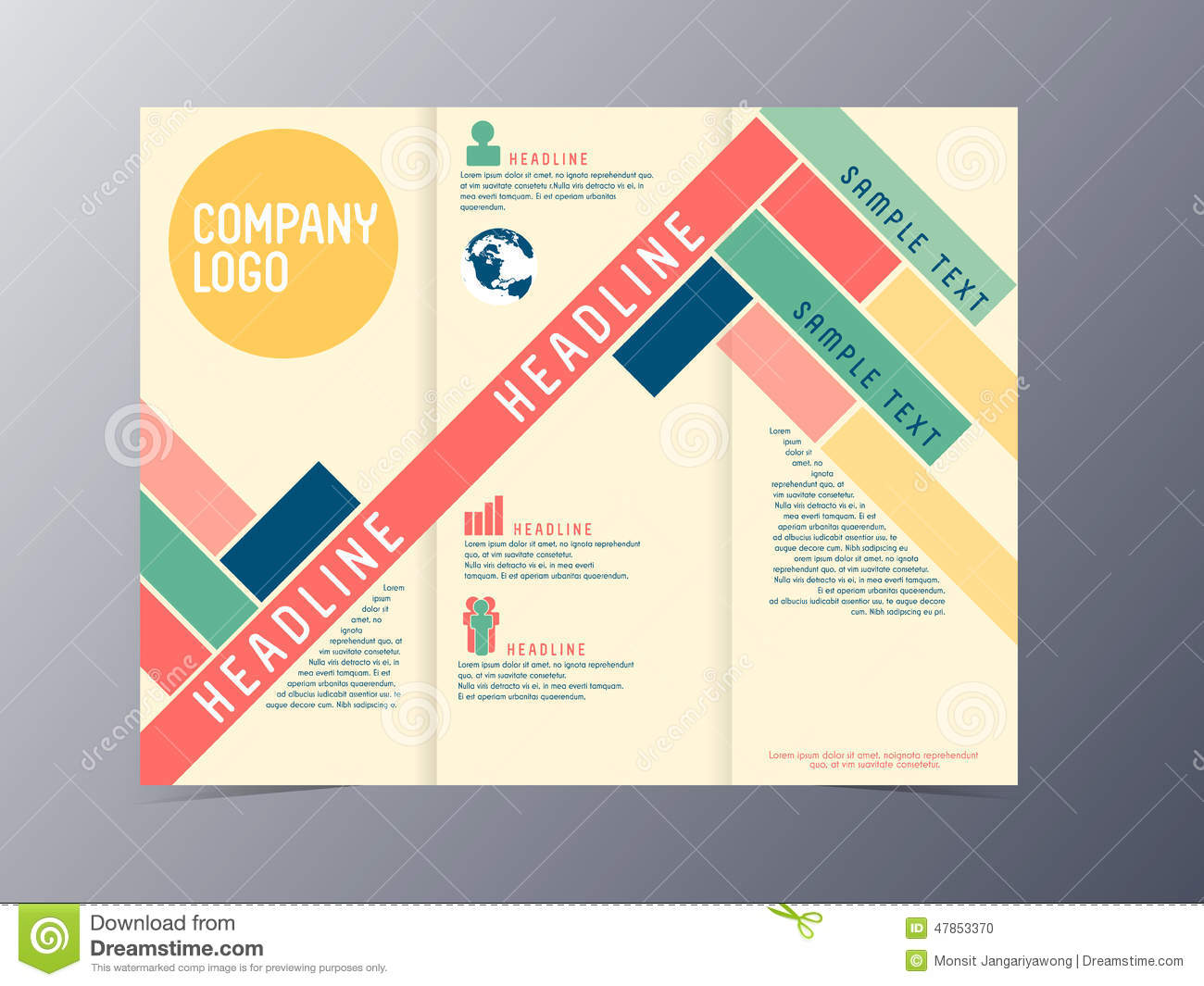 Colorful modern design brochure template vector stock for Modern brochure design templates