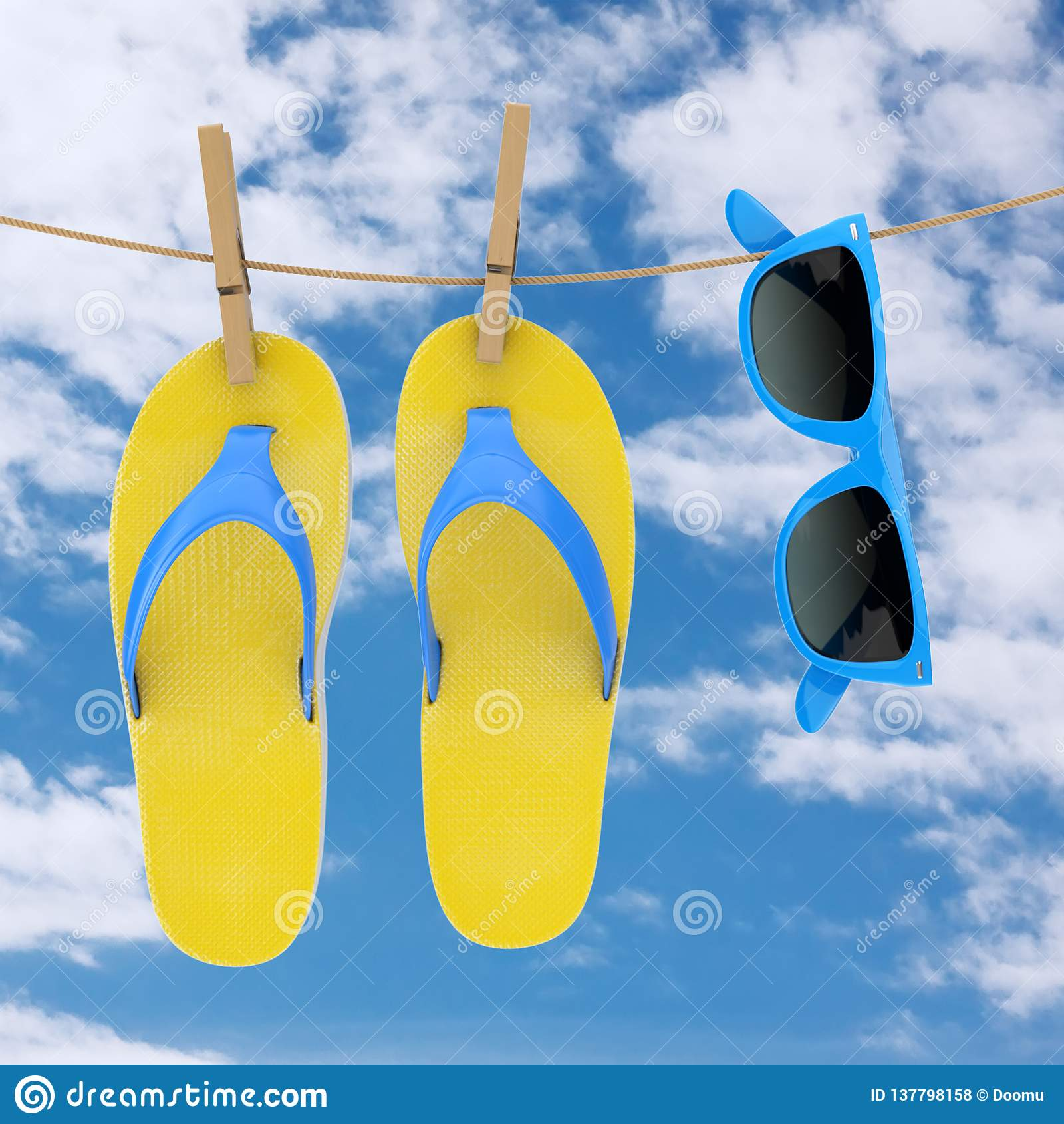 a3de6dabec1fa6 Colorful Modern Flip Flops with Blue Sunglasses Hanging on Clothesline on a  blue sky background background. 3d Rendering