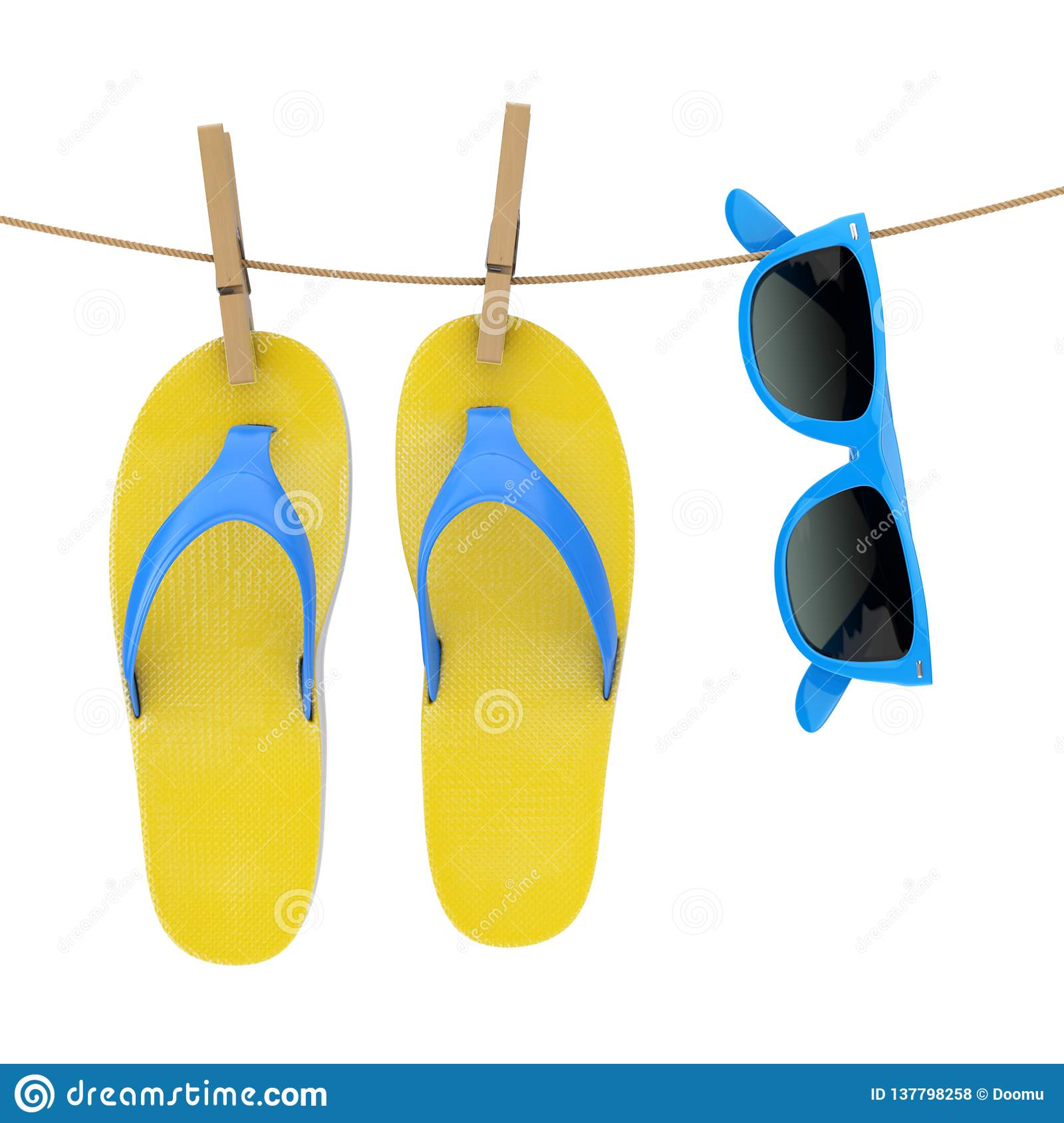 2ba12086394e18 Colorful Modern Flip Flops with Blue Sunglasses Hanging on Clothesline on a  white background. 3d Rendering