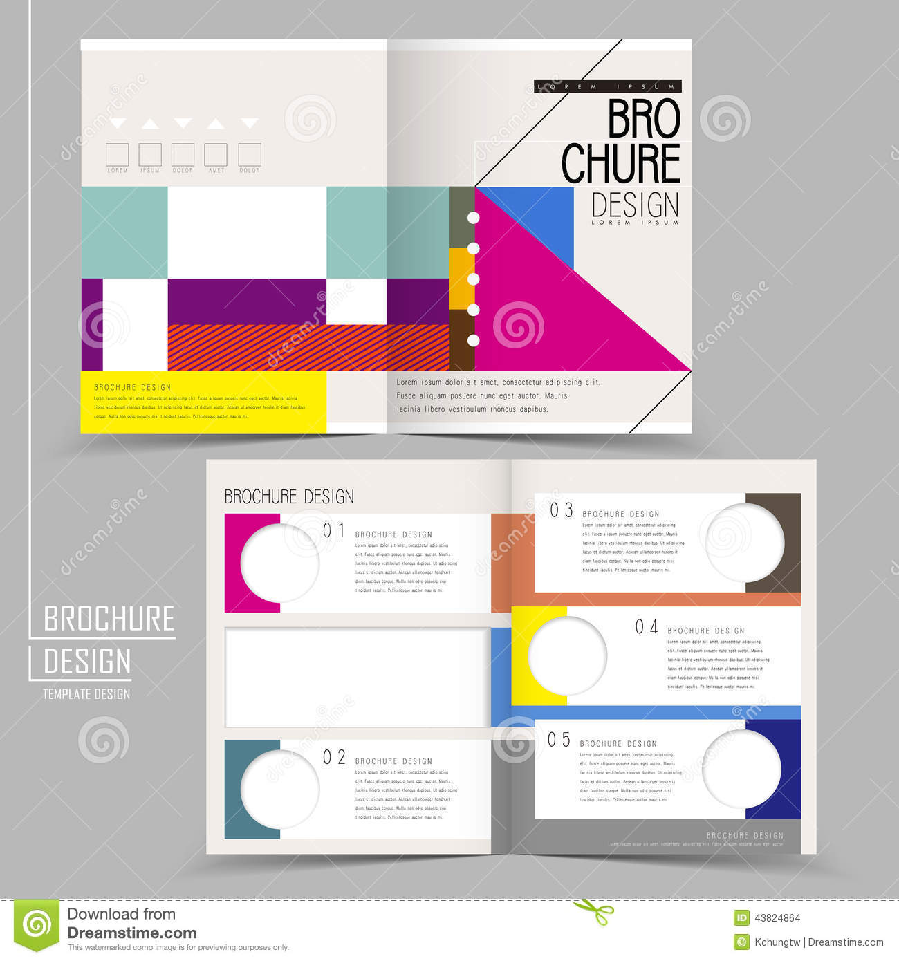 Geometric Style Halffold Template Brochure Vector Image – Half Page Flyer Template
