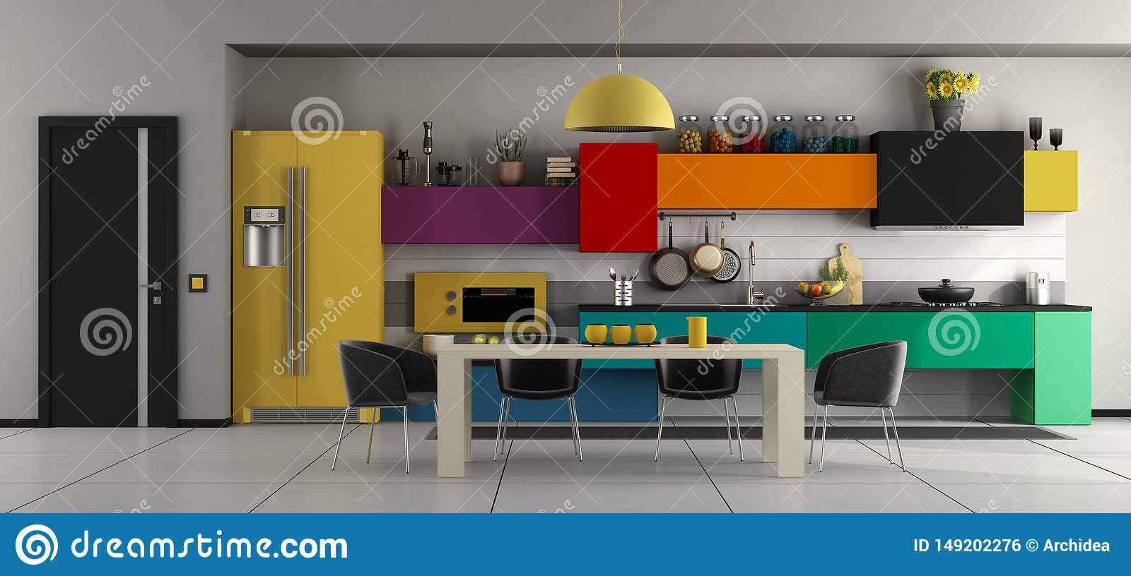 Colorful Modern Kitchen With Table And Chairs Stock Illustration Illustration Of Cooker Green 149202276