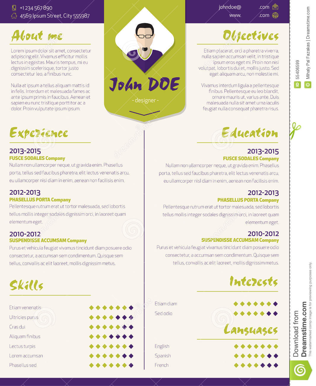 Colorful modern resume curriculum vitae template with for Colorful resume templates